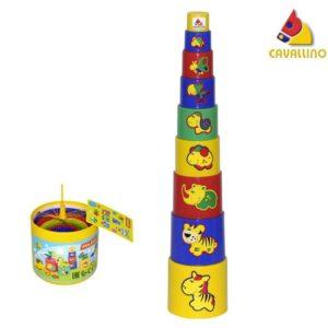 Pyramída so zvieratkami, skladá sa z farebnách pohárikov Balenie obsahuje 9ks Rozmery:10x5cm Vhodné pre deti od 1 roka.