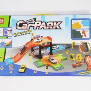 Autopark s autíčkami, dráhou, parkovaním a dopravnými značkami Rozmery:39x24x5,5cm Nevhodné pre deti do 3 rokov.