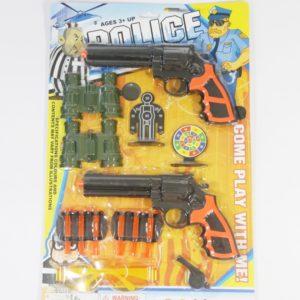 Policajná sada pištolov na šípky s okuliarmi, píšťalkou, ďalekohľadmi, a terčom Rozmery:29x3x44cm Nevhodné pre deti do 3 rokov.