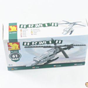 Stavebnica Vrtuľník, balenie obsahuje 61 častí/kociek Vhodné pre deti od 6 rokov.