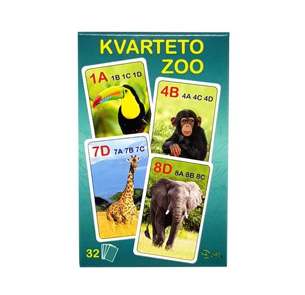 Hra Kvarteto ZOO je kartová hra pre 3 až 6 hráčov, v balíčku je 32 ks obrázkových kariet. Cieľom hry je vytvoriť z kariet kvartetá. Súčasťou balíčka je aj návod SK/CZ Nevhodné pre deti do 3 rokov.