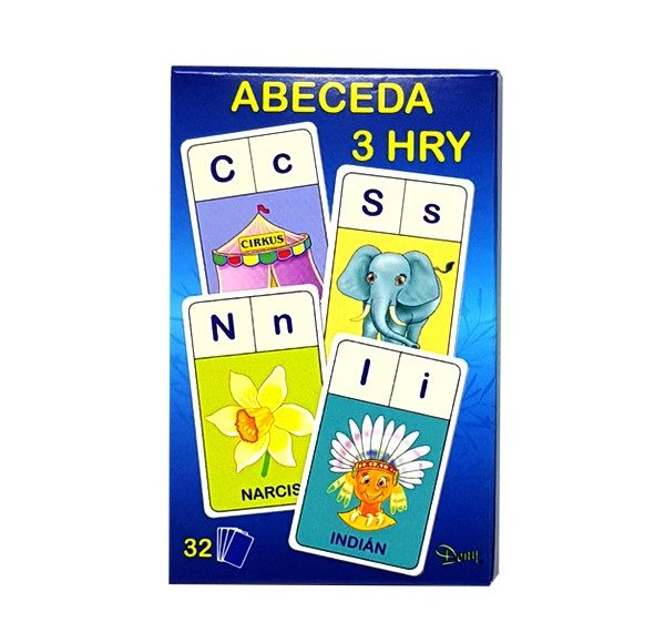 Hra Abeceda 3v1, s touto kartovou hrou si zahráš 3 hry a niečo sa aj naučíš. Teda hru Abeceda, Hľadaj a Písmená. V balíčku je 32 ks obrázkových kariet. Súčasťou balíčka je aj návod SK/CZ. Nevhodné pre deti do 3 rokov.