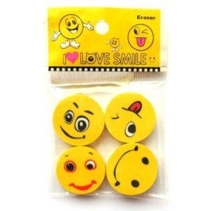 Gumy na gumovanie Smile v balení su 4ks Rozmery gumy: 2,5x2,5cm Rozmery balenia: 9,5x6cm Nevhodné pre deti do 3 rokov.
