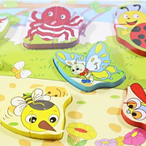 Drevená skladačka zvieratká, je náučna hračka pre najmenších. Pomáha rozpoznávať zvieratká, ktorých časti pasujú k sebe. Rozmery: 30x22cm Vhodné pre deti od 18 mesiacov.