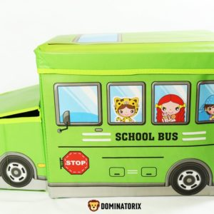 Box na hračky autobus zelený s dvoma priehradkami a zipsom zo spodnej strany na uzatváranie boxu. Rozmery: 55x33x26cm. Vhodné pre deti od 3 rokov.