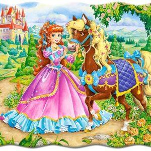 Puzzle princezná s koníkom 30ks Rozmery obrázka: 32x23cm Vhodné pre deti od 4 rokov.