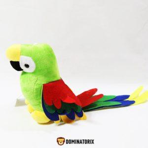 Plyšový Papagáj zelenej farby s frebnýmy krídlami a chvostíkom. Materiál - 100% Akryl. Rozmery: Výška papagája je 22cm. Dĺžka krídel 12cm. Dĺžka chvostíka 26cm.