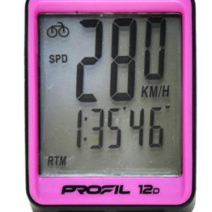 Káblový Tachometer na bicykel Profil 12D čierno ružový s príslušenstvom. Má 12 funkcií: Celkový počet km Počet km/denná vzdialenosť Hodiny Stopky Čas jazdy Aktuálna rýchlosť jazdy Priemerná rýchlosť jazdy Maximálna rýchlosť jazdy Sken Podsvietenie displeja Automatické zapnutie a vypnutie Meranie vzdialenosti v km/míľach