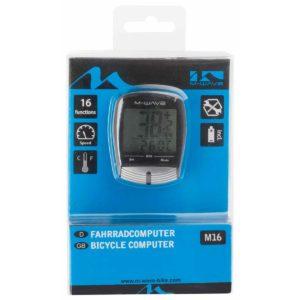 Tachometer na bicykel M-Wave M16 s príslušenstvom. Má 16 funkcií: Rýchlostný merač Priemerná rýchlosť Maximálna rýchlosť Možnosť zrýchlenia Porovnávač rýchlosti Dĺžka trasy Dĺžka cesty (myslene je tým jednej jazdy) Automaticky merač cesty (jednej cesty, výjazdu) Digitálne hodiny, možnosť výberu 12/24hod Teplomer C/F Auto skan Servisný program Zmrazenie pamäte Automaticky vypínač Nastavenie kilometrov alebo míľ Baterka priložená v balení Primontovanie bez náradia priamo na riadidlo