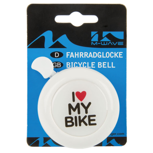 """Zvonček na bicykel M-Wave I love my bike - biely. Priemer: 5.5cm Farba: biela s popisom """"I love my bike"""". Materiál: Fe + plast. Zvuk: hlasný a jasný. Priemer úchytu: 22 mm."""