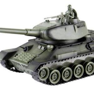 Detský tank na diaľkové ovládanie T 34 Tank má otočnú vežu a zvládne manévre v náročnom teréne. Tlačidlom START na ovládači aktivujte zvukové a svetelné efekty. Tlačidlo LAUNCH BULLET aktivuje zvukový a svetelný ekekt výstrelu. Tank jazdí všetkými smermi.  batériový pack a nabíjací adaptér súčasťou svetelné a zvukové efekty frekvencia 27 MHz Veľkosť 35cm Rozmery balenia: DŠV 41x18,5x15,5cm Materiál: plast Vhodné pre deti od 3 rokov.