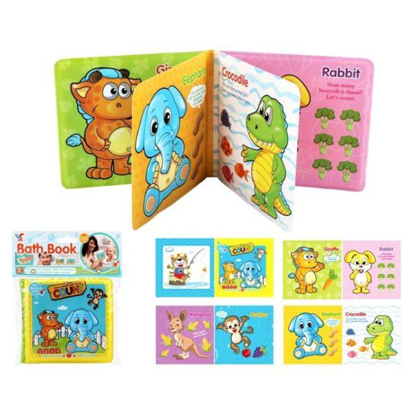 Detská mäkká kniha do vody Kniha má 4 strany Materiál: PVC Rozmery: 15x15cm Vhodné pre deti od 1 roka