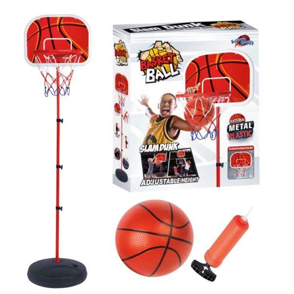 Detský Basketbalový kôš s loptou a pumpou Výška zloženého basketbalového koša je 150cm Výška je nastaviteľná Konštrukcia stojanu je kovová Balenie obsahuje: lopta, pumpa, kôš Nevhodné pre deti do 3 rokov. Materiál: kov a plast