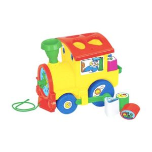 Detská vkladačka vláčik Plastová lokomotíva - vkladačka na ťahanie s hodinami a 6 vkladačkami. Materiál: plast Rozmery: 23x18cm Vhodné pre deti od 3 rokov.