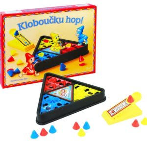 Detská spoločenská hra klobúčik hop Balenie obsahuje: 15ks klobúčikov v 3 farbách 2ks odpaľovacia rampa 1ks hrací terč Hra je určená pre 2 až 5 hráčov Vyhrá hráč ktorý nazbiera 100bodov. Materiál: plast Rozmery: 30x25cm Vhodné pre deti od 3 rokov